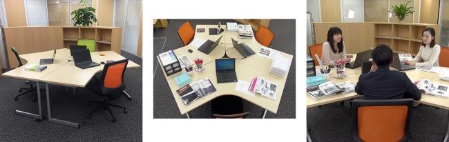 ブーメラン型デスク(L字120度天板デスク)購入いただくと、オフィスレイアウトを無料作成