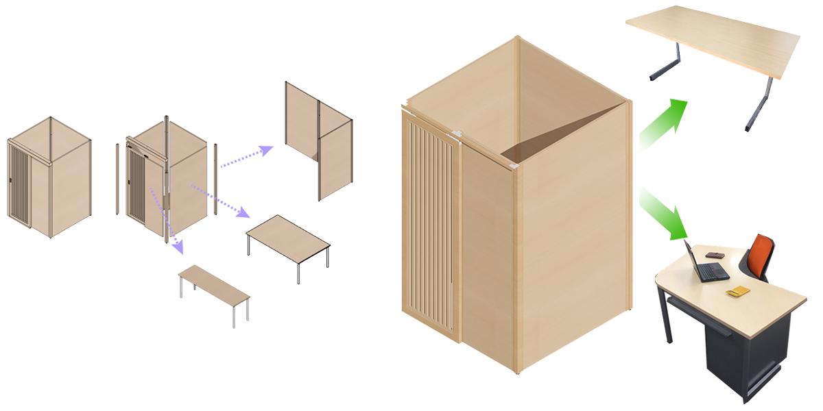 捨てないオフィス家具・web会議ブース
