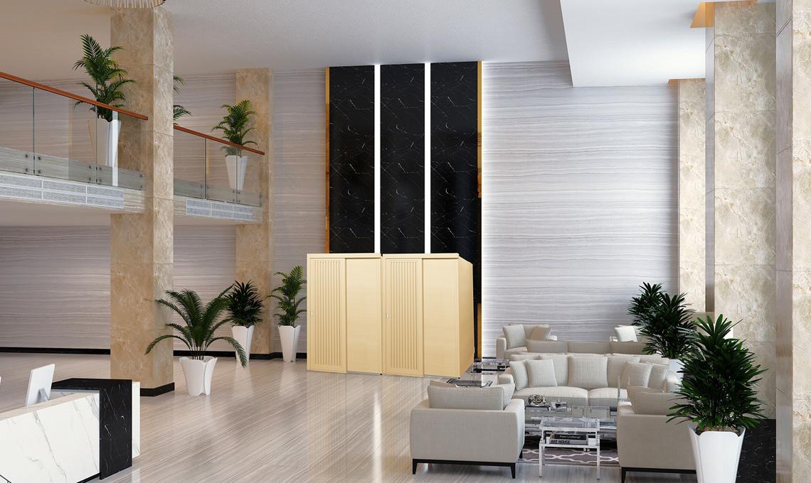 ホテルのロビーなど空きスペースに設置したワークブースの予約・管理